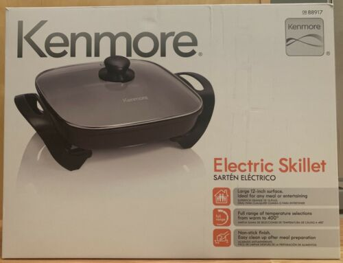 "New Kenmore Electric Non-Stick Skillet 12/"" x 12/"" Tempered Glass Lid 88917"