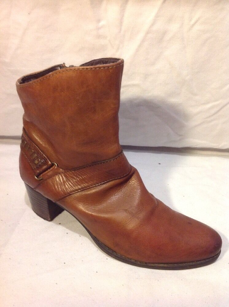 Cara Brown Ankle Leather Boots Size 37