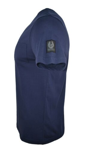 BELSTAFF /'THOM/' CHEST POCKET CLASSIC T-SHIRT DARK NAVY BLUE CREW NECK