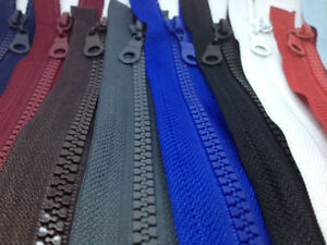 OPEN-END-CHUNKY-PLASTIC-TEETH-ZIPS-VARIETY-OF-COLOURS-LENGTHS-BUY-1-GET-1-FREE