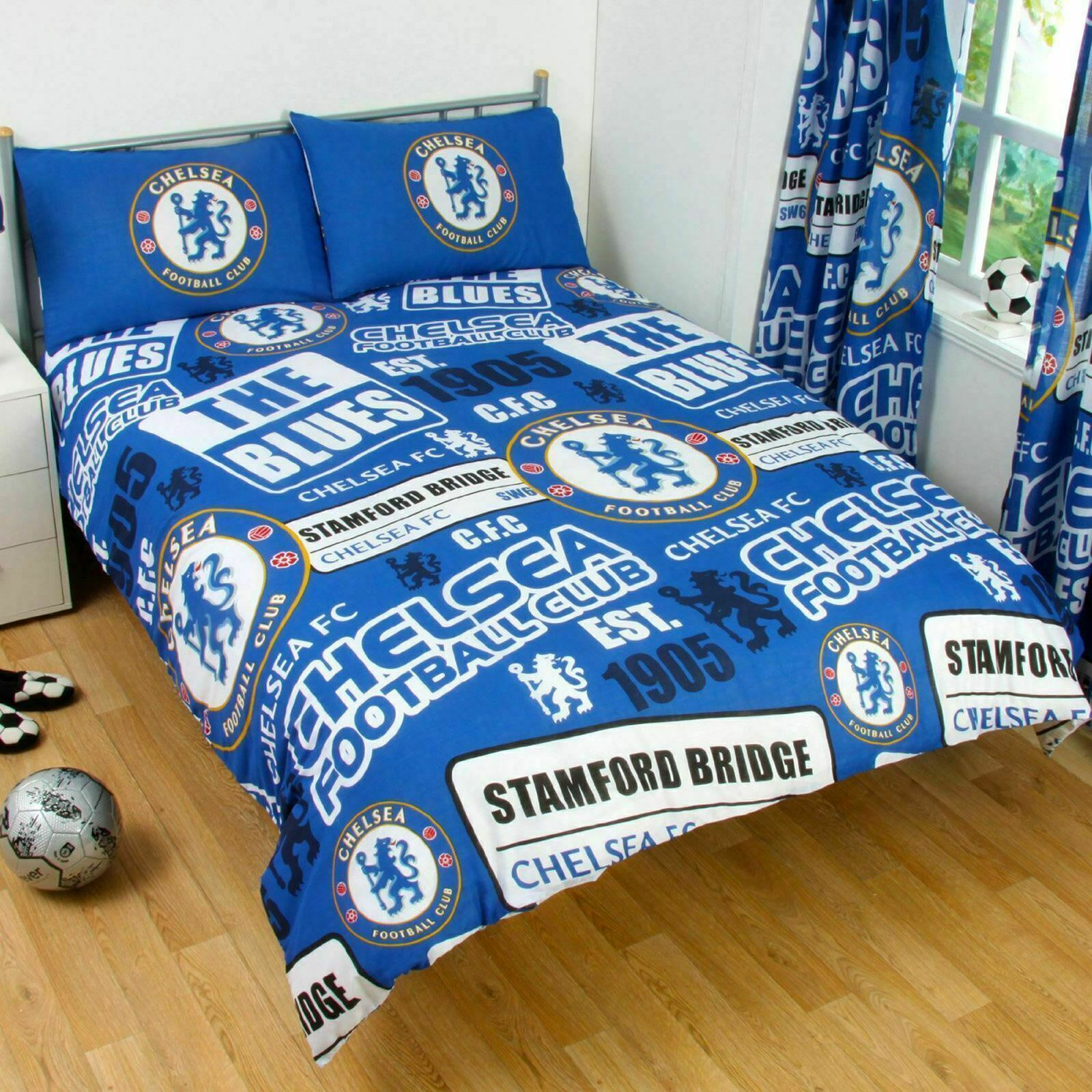 check out 8144f 4df8e Details about Chelsea FC Double Duvet Quilt Cover Bed Set Football Official  Bedding Patch