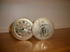 Vintage Bulova Walking Liberty Gold Coin Stack Desk  Travel Alarm Clock