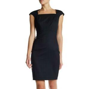 Ted-Baker-London-Miakod-Dress-Wool-Sheath-Black-Career-Classic-size-5-US14-B465