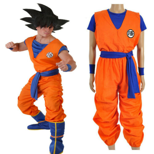 RAGON BALL Son Goku Uniform Cosplay Costume Top+T-shirt+Pants+Belt+Wrister