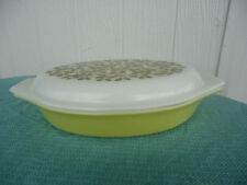 vintage retro pyrex olive lime green divided casserole baking dish