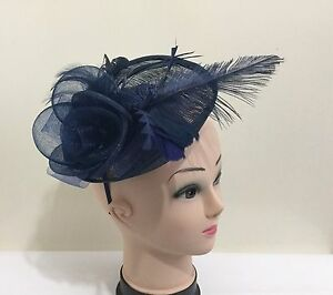 18add5e18c2 Image is loading Elegant-Headband-Fascinator-Hat-Alice-band-Wedding-Ladies-