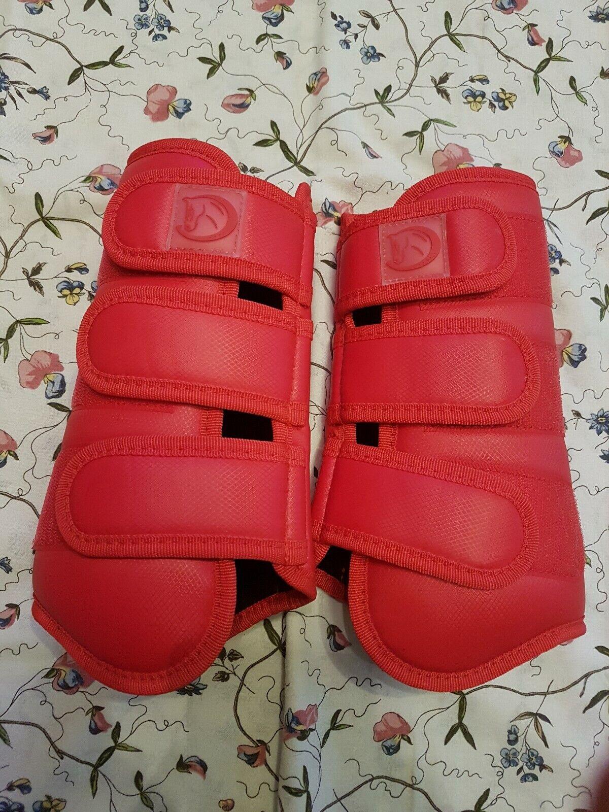 Rote Reit Gamaschen Größe L WarmBlaut für vorne und hinten     Export