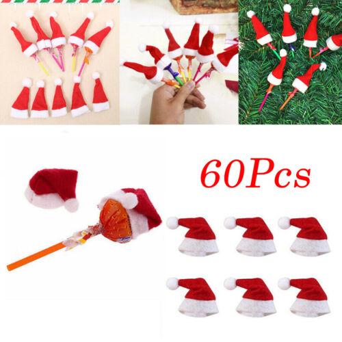 60pcs Christmas Mini Hat Lollipop Lollypop Santa Claus Cap Wrap Xmas Party Decor