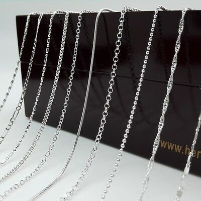 Sexy Gift Jewelry 925 Plated Silver Chain Necklace 18 20 22 24 26 28 30 inches