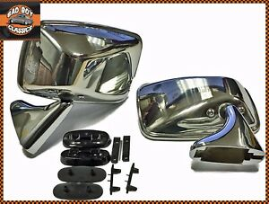 Pair-Polished-Stainless-Steel-Flat-Door-Mirrors-OE-Quality-For-CLASSIC-MINI