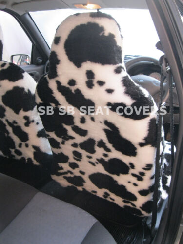 TOYOTA AYGO CAR SEAT COVERS COW FURRY FAUX FUR SBFCS003 BLACK//WHITE