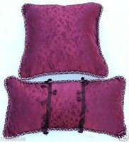 NEW 2 CROSCILL CLARET RED PILLOWS ONE 18 IN SQUARE THROW ONE 20X14 IN BOUDOIR
