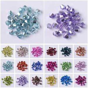 3mm-4mm-6mm-Half-Plated-Bicone-Faceted-Crystal-Glass-Loose-Spacer-Beads-lot