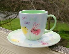 Starbuck Coffee Company Easter Cup Saucer Set Bunny Duck Quack Chirp Spring 2007