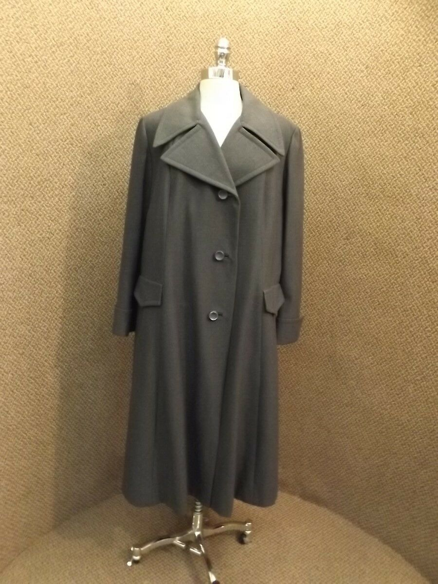 Vtg Modern Lady 100% Wool Long Single Breasted Trench Career Coat XXL 48 Bust