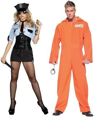 Couples Officer B Naughty And Prison Jumpsuit Adult Costumes Cosplay Halloween