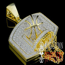 10k Yellow Gold Plated Basketball Net & Ball Charm Pendant for Necklace New Mens