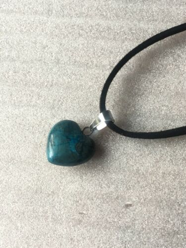 Small Heart shaped Blue Apatite gemstone pendant and Cord Chain Jewellery