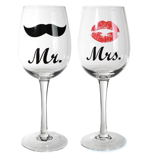 Lot DE 2 M. Mme Vin Verre Mariage Anniversaire Cadeau Présent Lunettes potable