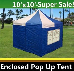 Image is loading 10-039-x10-039-Enclosed-Pop-Up-Canopy-  sc 1 st  eBay & 10u0027x10u0027 Enclosed Pop Up Canopy Party Folding Tent Gazebo - Blue ...