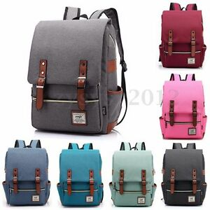 Men Women Shoulder Canvas Backpack Rucksack School Travel Laptop College Bag-z