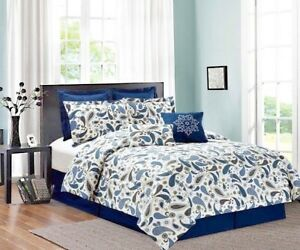 Eight-8-Piece-Printed-Bed-In-A-Bag-Navy-Blue-Paisley-Queen-and-King-Sizes