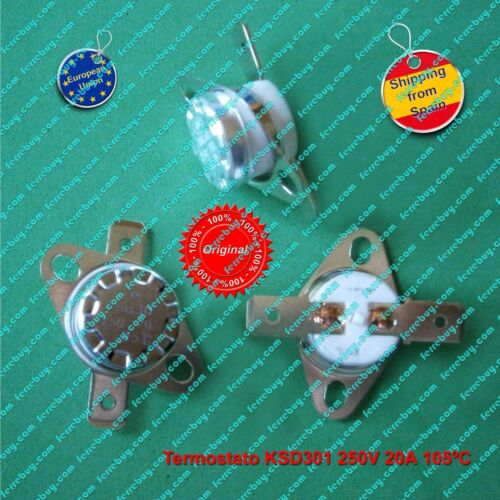 Thermostat KSD301 or KSD302 20A 250V 70ºC to 145ºC normally closed auto reset