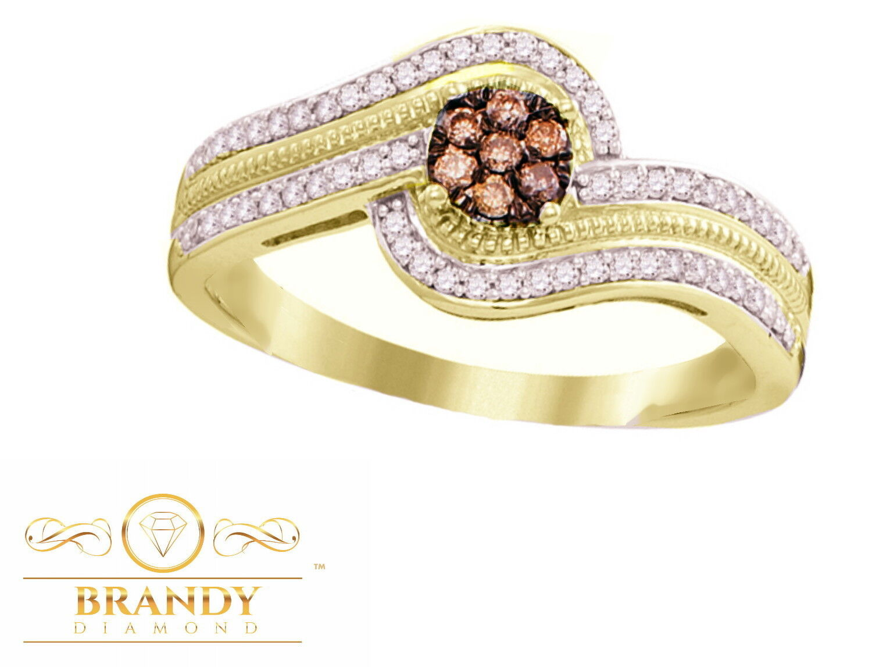01e927d9b553b Diamond® Brandy Chocolate Brown Ring Flower Encased Beautiful gold ...