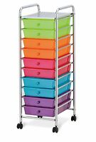 Seville Classics 10-drawer Organizer Cart With Drawers, Pearlized Multi Color ,
