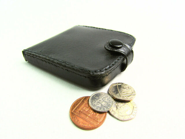 00af85ff81ed Mens Ladies High Quality Real Leather Coin Pouch Tray Wallet Notes Purse  Change Black