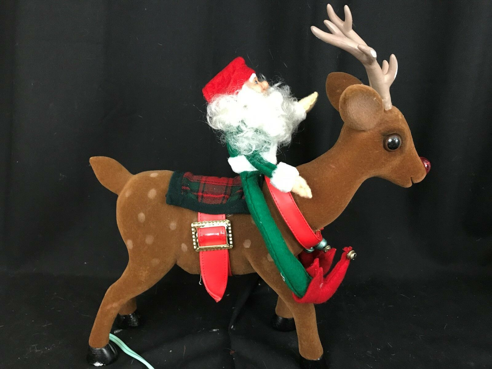 Vintage Telco Motionette Rudolp the rosso Nose Reindeer Animated with Elf