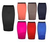 Womens Ladies Office Jersey Pencil Knee Length Bodycon Midi Skirt Size UK 8-14