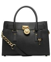 Michael Kors Black Saffiano Leather Hamilton East West Studio $299 Gold Bag