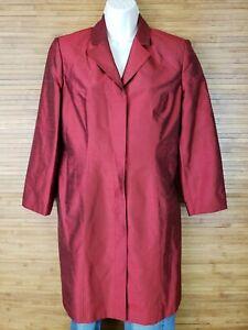INC International Concepts Red 100% Silk Short Trench Jacket Womens sz Petite 8P