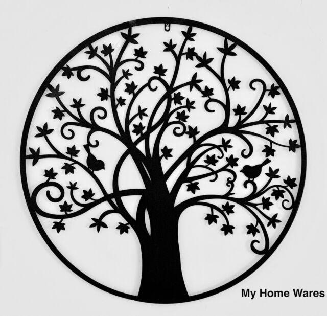 Black Metal Tree of Life Wall Art Round Circular Indoor / Outdoor Plaque 80cm