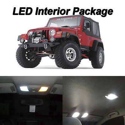 5 x Xenon White LED Lights Interior Package Kit For 2000-2006 Jeep Wrangler TJ