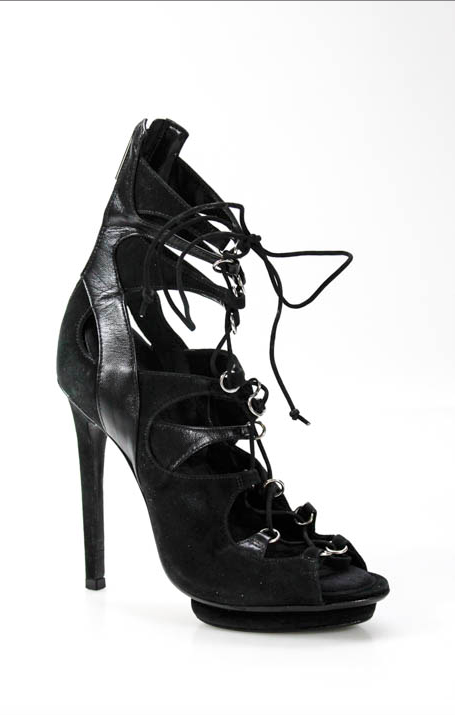 SCHUTZ 6 6.5 37 Lace Up Up Up REAL Suede Leather Strappy Platform High Heels Stilettos 9c3331