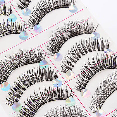 Black 10Pairs Mix Handmade Natural False Eyelashes Long Fake Lashes Wispy  BEj