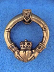 Antique Irish Claddagh Ring Door Knocker Round Celtic Brass