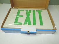 Led Plastic Exit Sign 120v/277v White Green Letters, Single Sided Battery Bu