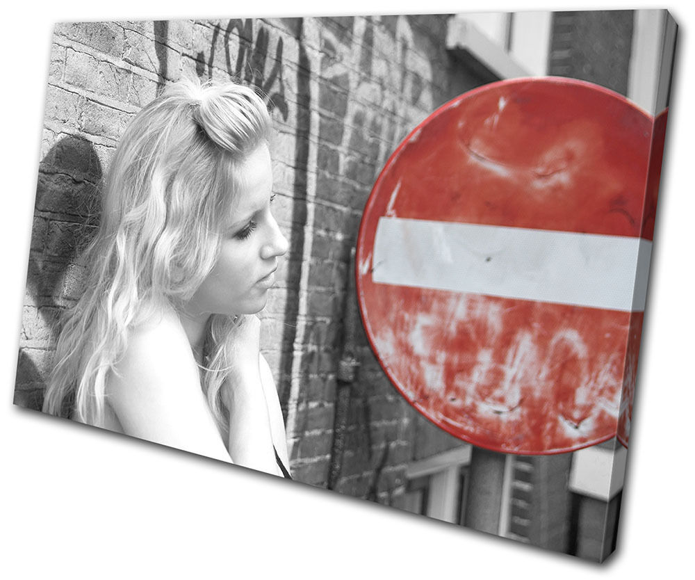City City Beauitful Woman Sign  SINGLE TOILE murale ART Photo Print