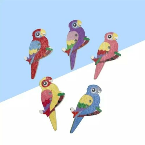 In Packs Of 10,20,30,40,50 Wooden Parrot Bird Buttons 2 holes 35mm Mixed Colour