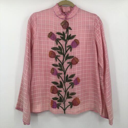 Vintage Pink Plaid Shirt Mandarin Collar Sheer Lay