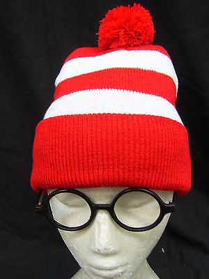 Red White Stripe Where's Wally Hat & Glasses Wenda Costume Beanie Wendy Waldo