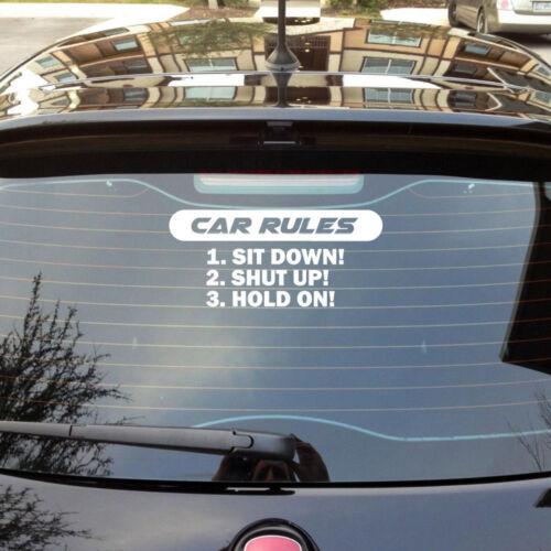 COOL Speed Car Rules Sticker Vinyl Decal Racing Bumper Window Door Decor White