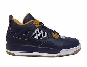 4fa3f5554ad Nike Big Kids  Air Jordan IV 4 RETRO BG Shoes Navy Gold 408452-425 a ...