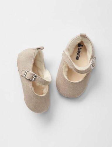GAP Baby Girls Size 3-6 Months Tan Ivory Faux-Fur Lined Mary Jane Flats Shoes