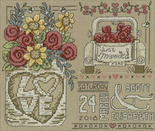 "Imaginating Counted Cross Stitch Kit 9/""X7.5/"" Rustic Wedding 14 C 054995031785"