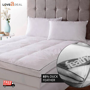 King-Luxury-Duck-Feather-amp-Down-Mattress-Topper-Cover-Washable-Best-Quality