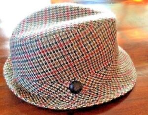 16e61f24eb05c MENS LARGE FEDORA HAT Curled Brim Acrylic and Wool Blue Red and ...